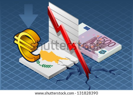 Detailed illustration of a isometric concept of economic cyprus depression - stock vector
