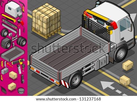 Detailed illustration of a isometric container truck in rear view - stock vector