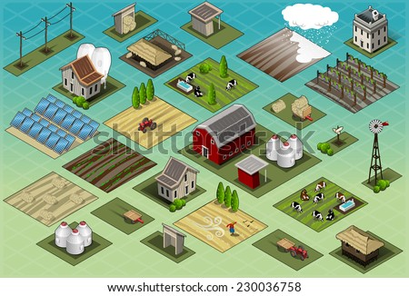 Detailed illustration of a Isometric Farm Set Tiles - stock vector
