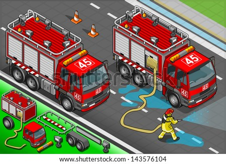 Detailed illustration of a Isometric Firefighter and Truck in front view - stock vector