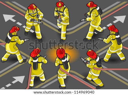 Detailed illustration of a isometric firefighter extinguisher in eight positions - stock vector