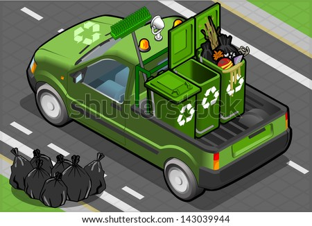 Detailed illustration of a Isometric Garbage Pick Up in rear view - stock vector