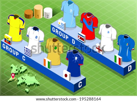 Detailed illustration of a Isometric Nations Groups for Soccer - stock vector