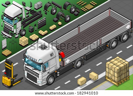 Detailed Illustration of a Isometric Pick Up Truck in Front View - stock vector