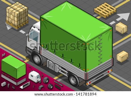 Detailed illustration of a isometric Pick Up Truck with Tarpaulin  - stock vector