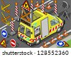 Detailed illustration of a isometric roadside assistance truck - stock photo