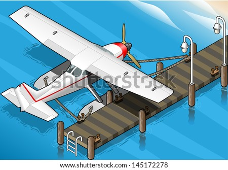 detailed illustration of a Isometric Seaplane Moored at the Pier in Rear View - stock vector