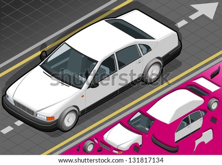 Detailed illustration of a isometric white car in front view - stock vector
