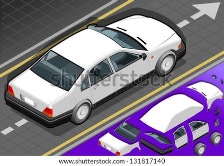 Detailed illustration of a isometric white car in rear view - stock vector