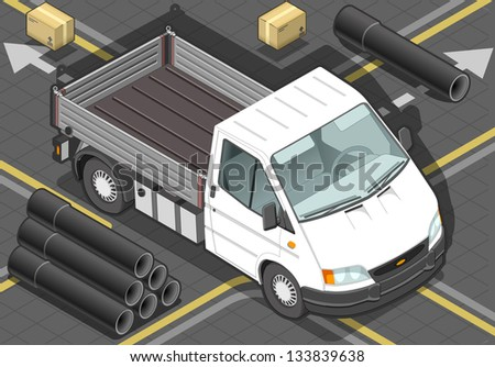 detailed illustration of a isometric white van in front view - stock vector