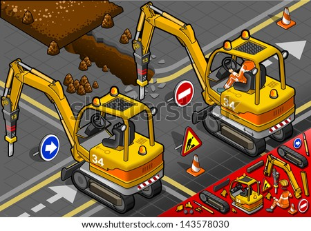 detailed illustration of a isometric worker piloting mini chisel excavator in rear view - stock vector