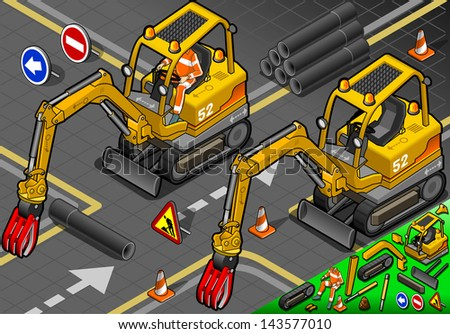 detailed illustration of a Isometric Worker Piloting Mini Mechanical Arm Excavator in Front View - stock vector