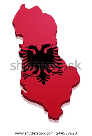 detailed illustration of a map of Albania with flag, eps10 vector - stock vector
