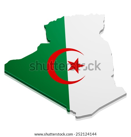 detailed illustration of a map of Algeria with flag, eps10 vector - stock vector