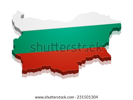 detailed illustration of a map of Bulgaria with flag, eps10 vector - stock vector