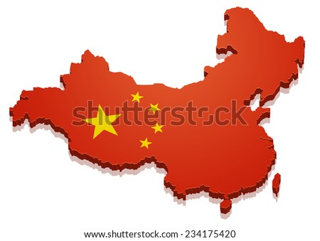 detailed illustration of a map of China with flag, eps10 vector - stock vector
