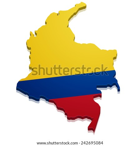 detailed illustration of a map of Colombia with flag, eps10 vector - stock vector