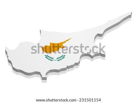 detailed illustration of a map of Cyprus with flag, eps10 vector - stock vector