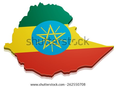 detailed illustration of a map of Ethiopia with flag, eps10 vector - stock vector