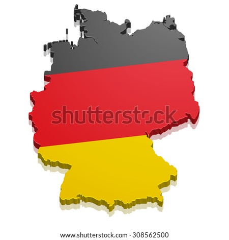 detailed illustration of a map of Germany with flag - stock vector
