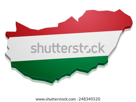 detailed illustration of a map of Hungary with flag, eps10 vector - stock vector