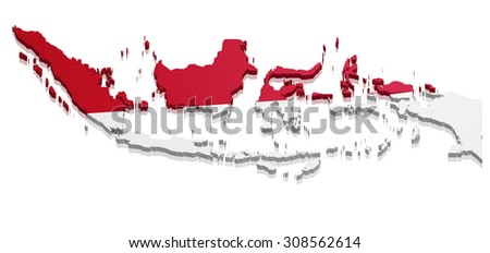 detailed illustration of a map of Indonesia with flag, eps10 vector - stock vector