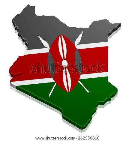 detailed illustration of a map of Kenya with flag, eps10 vector - stock vector
