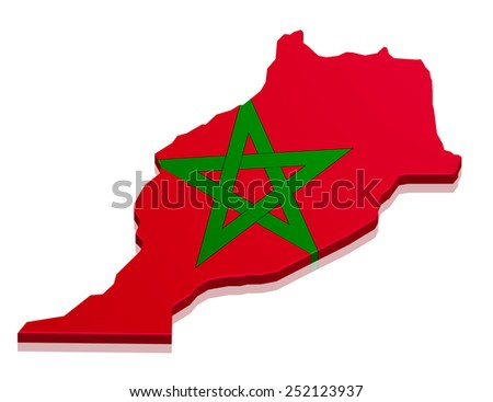 detailed illustration of a map of Morocco with flag, eps10 vector