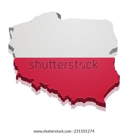 detailed illustration of a map of Poland with flag, eps10 vector - stock vector
