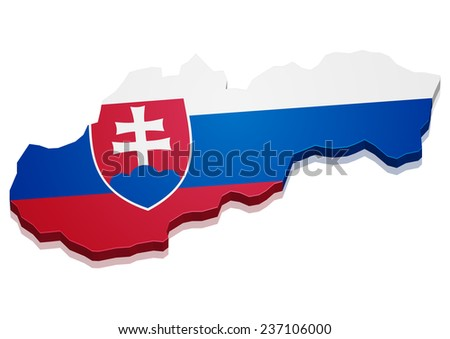 detailed illustration of a map of Slovakia with flag, eps10 vector