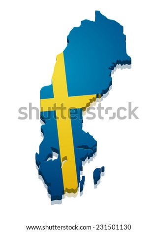 detailed illustration of a map of Sweden with flag, eps10 vector