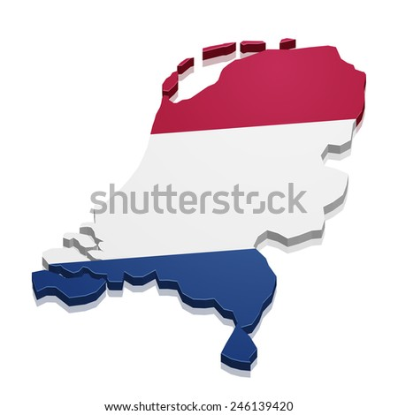 detailed illustration of a map of the netherlands with flag, eps10 vector - stock vector