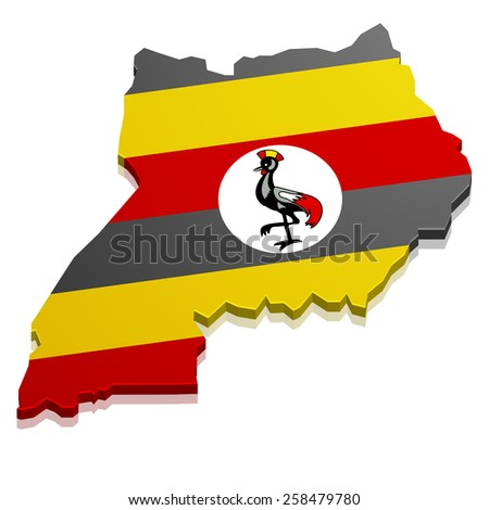 detailed illustration of a map of Uganda with flag, eps10 vector - stock vector