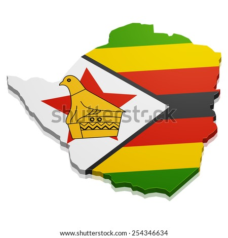 detailed illustration of a map of Zimbabwe with flag, eps10 vector - stock vector