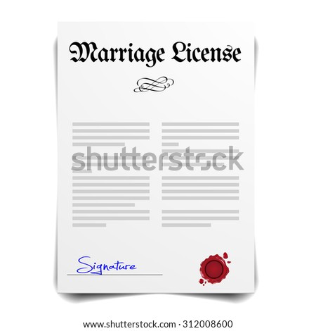 detailed illustration of a Marriage License Letter, eps10 vector - stock vector