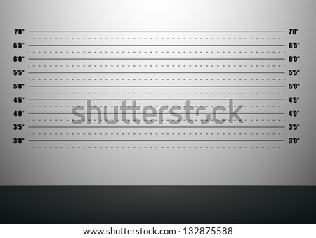 detailed illustration of a mugshot background with inch scales, eps10 vector - stock vector