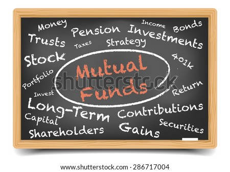 detailed illustration of a Mutual Funds wordcloud on a blackboard, eps10 vector, gradient mesh included - stock vector