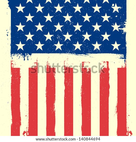 detailed illustration of a patriotic american flag on a grungy background, eps 10 vector - stock vector