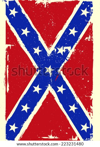 detailed illustration of a patriotic confederate flag on a grungy background, eps 10 vector - stock vector