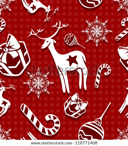 Detailed illustration of a pattern christmas red
