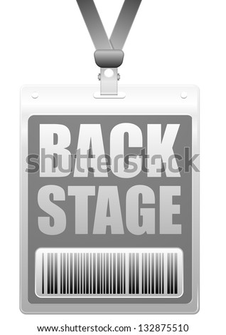 detailed illustration of a plastic backstage badge with barcode, eps10 vector - stock vector