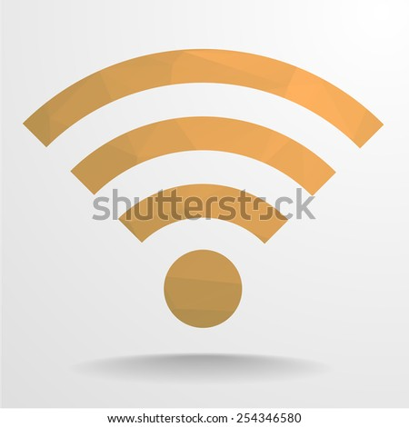 detailed illustration of a polygonal wifi signal sign, eps10 vector - stock vector