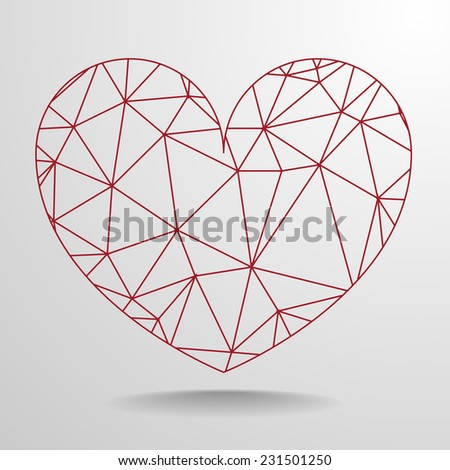 detailed illustration of a polygonal wireframe heart, eps10 vector - stock vector