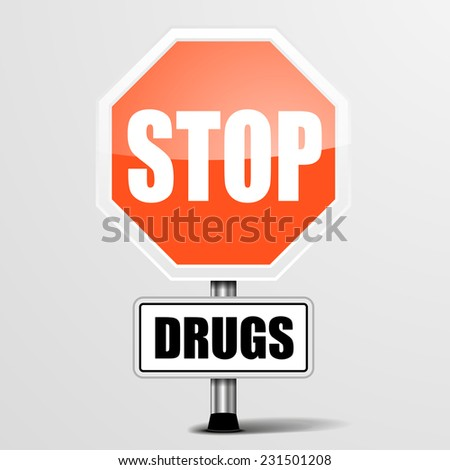 detailed illustration of a red stop drugs sign, eps10 vector - stock vector