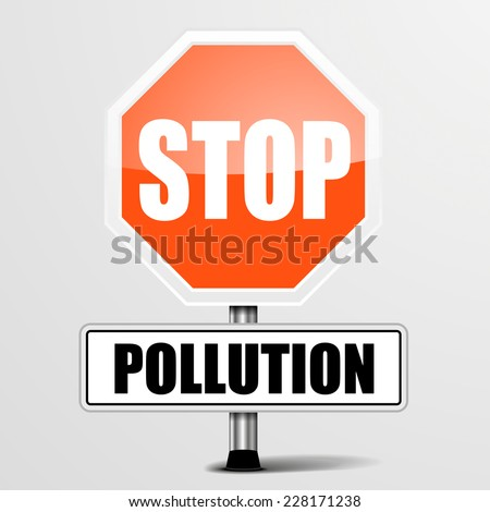 detailed illustration of a red stop Pollution sign, eps10 vector - stock vector