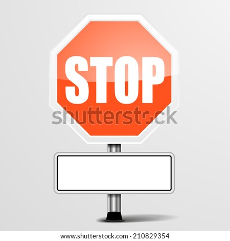detailed illustration of a red stop sign with blank white plate, eps10 vector - stock vector