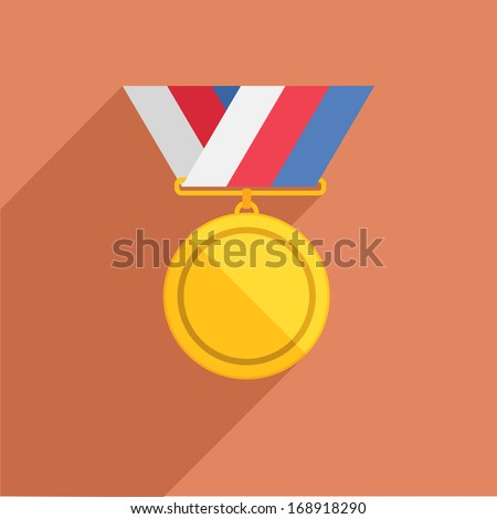 detailed illustration of a retro flat style medal with ribbon eps10 - stock vector