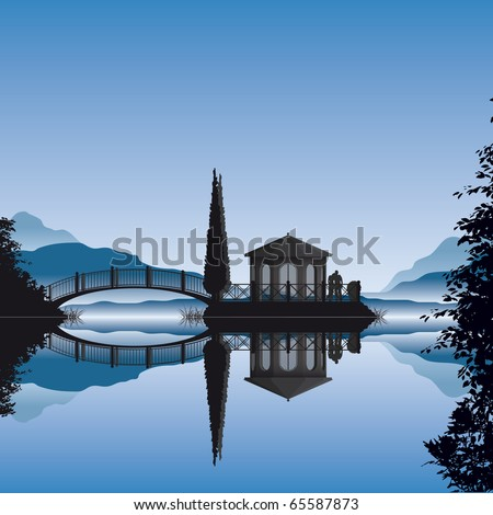 Detailed illustration of a romantic pavilion on a small islet in a lake