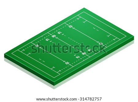 detailed illustration of a rugby field with isometric perspective, eps10 vector
