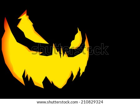 detailed illustration of a scary halloween Jack-o-Lantern face carving background, eps10 vector - stock vector